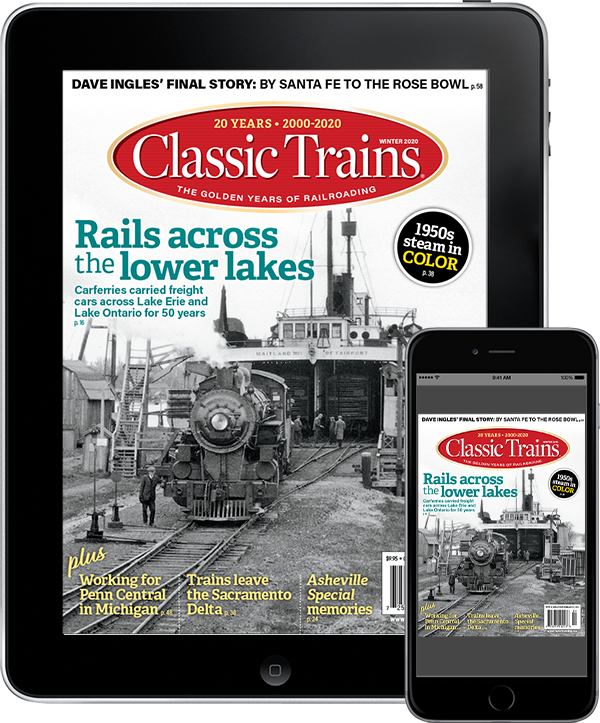 A tablet and mobile phone featuring a cover of Classic Trains