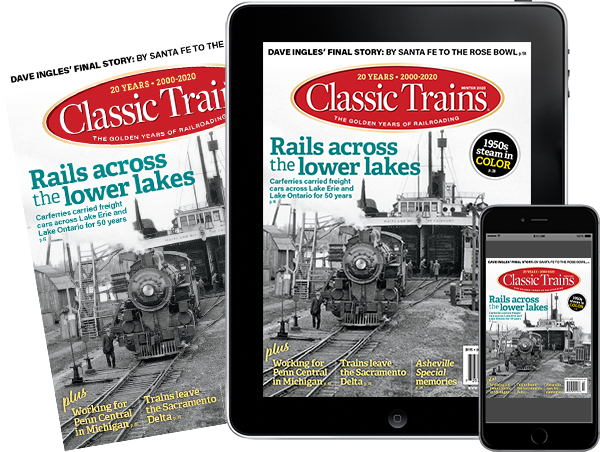 A physical copy of Classic Trains alongside a tablet and mobile phone featuring covers of the issue