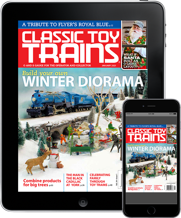 A tablet and mobile phone featuring a cover of Classic Toy Trains