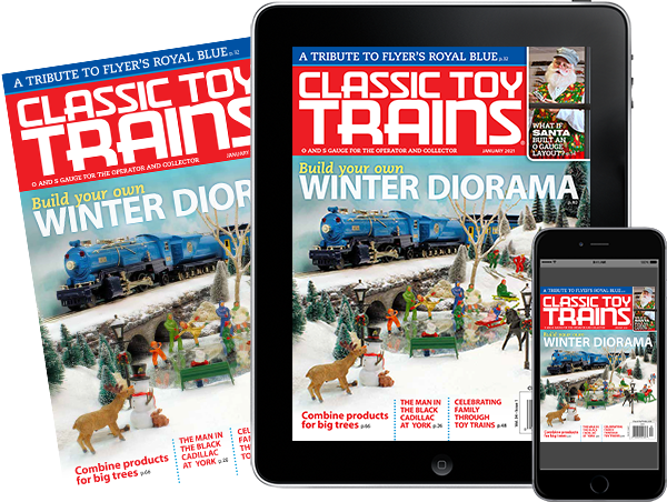A physical copy of Classic Toy Trains alongside a tablet and mobile phone featuring covers of the issue