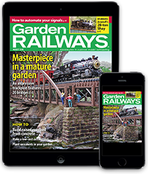 A tablet and smart phone featuring a cover of Garden Railways