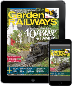 A tablet and smart phone featuring a Garden Railways cover