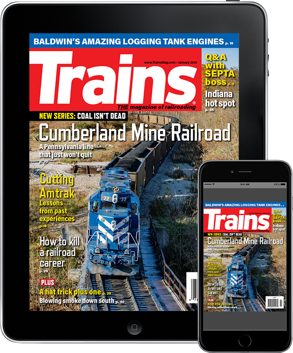 A tablet and mobile phone featuring a cover of Trains