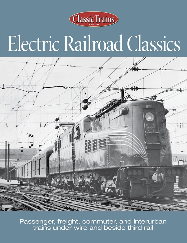 Cover shows a black and white photo of a vintage electric locomotive