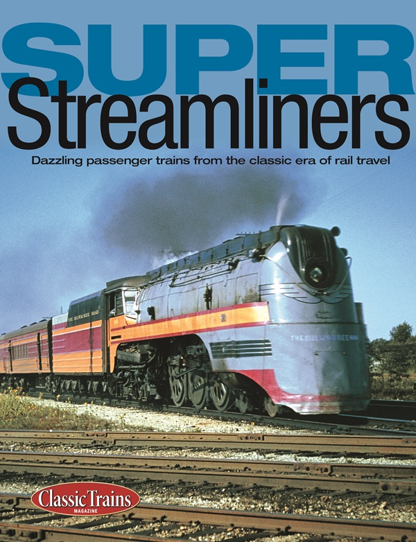 The cover shows a vintage color photo of a streamlined locomotive