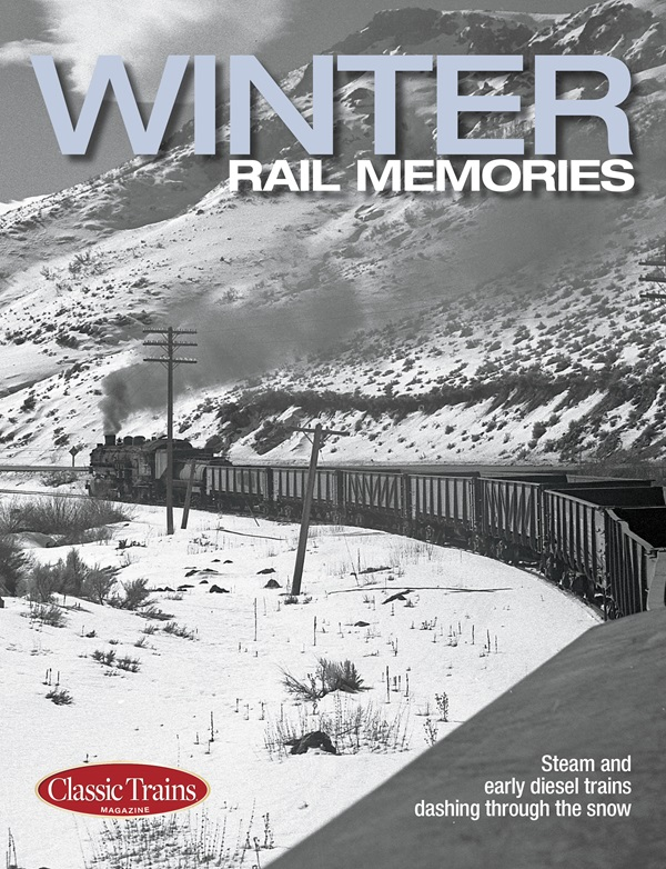 The cover shows a black and white photo of a passenger train in a winter scene