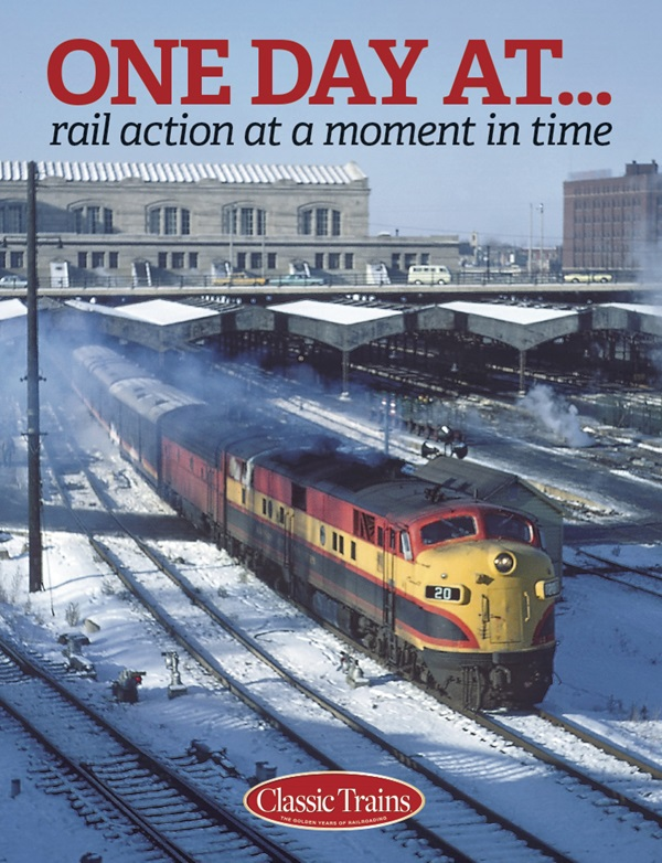 The cover shows a vintage color photo of a passenger train