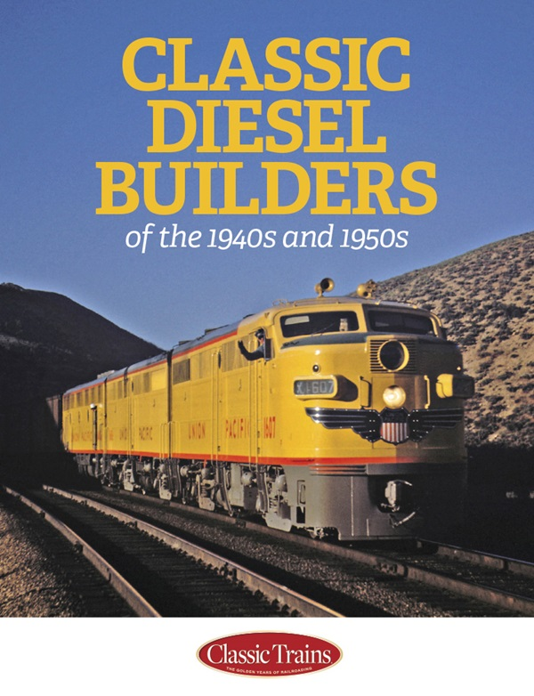 The cover shows a color photo of a vintage diesel locomotive