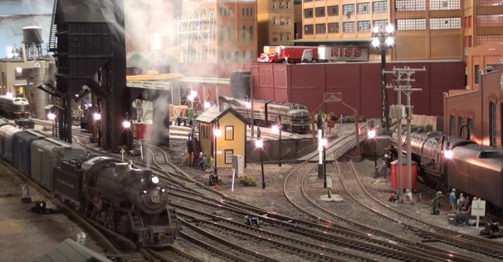 Model locomotive in industrial scene