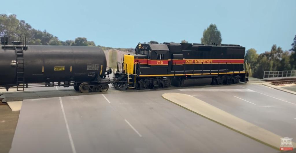 Locomotive crossing the highway