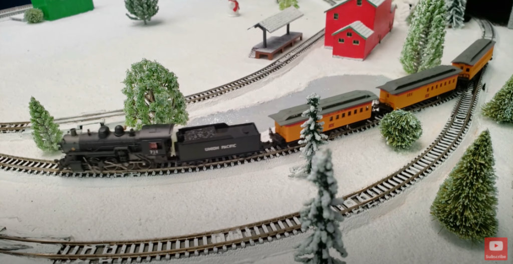 Snowy scene on model train layout