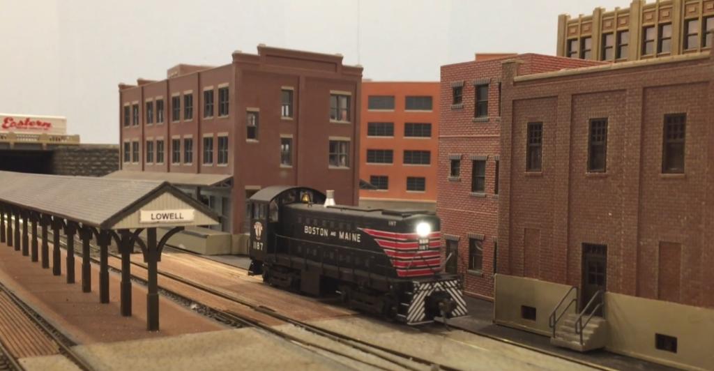 Model locomotive on layout