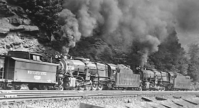 Pennsylvania Railroad 2-10-0 Decapods Horseshoe Curve in the Allegheny Mountains