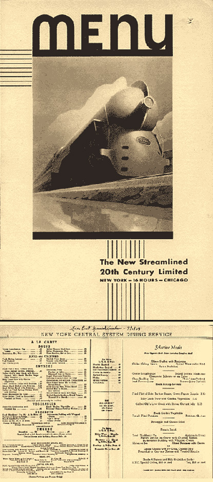 New York Central's 20th Century Limited menu
