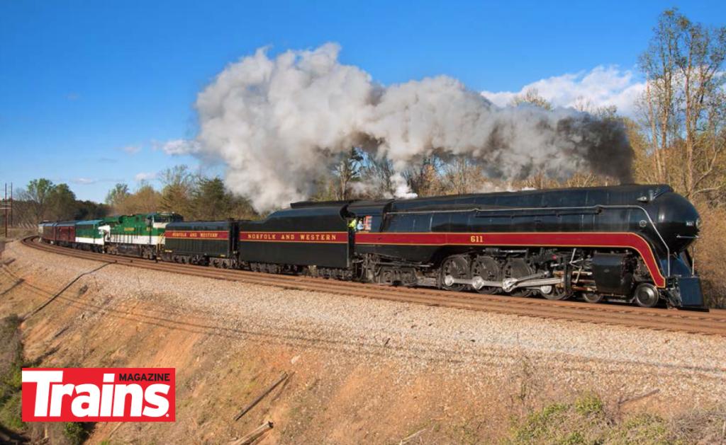 Norfolk & Western 4-8-4 No. 611 pulls an excursion in Virginia.