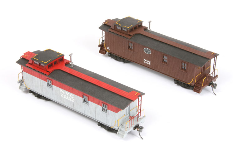 American Model Builders Inc. HO scale New York Central lot 732 long and Pacemaker service wood cupola cabooses