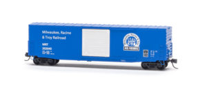 Micro-Trains N scale Milwaukee, Racine & Troy 45th anniversary Pullman-Standard 50-foot boxcar, available from KalmbachHobbyStore.com