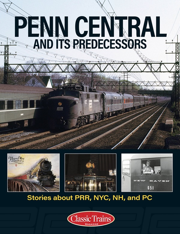 the cover shows various photos of vintage passenger trains