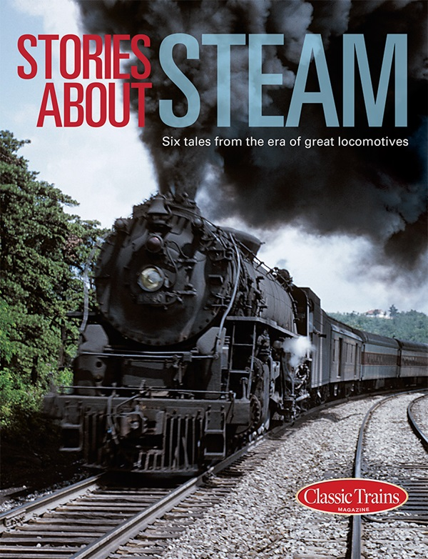 The cover shows a vintage color photo of a steam locomotive