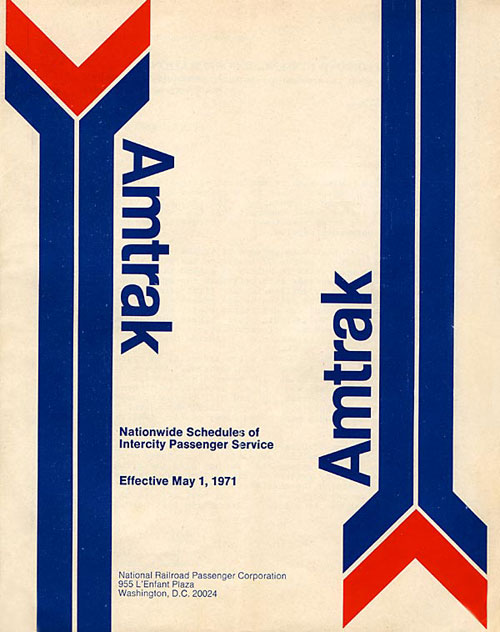 First Amtrak timetable, issued May 1, 1971.