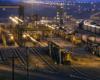 A diesel rail yard at night
