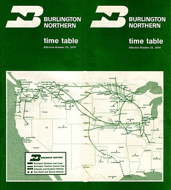 Burlington Northern final passenger timetable final passenger timetable