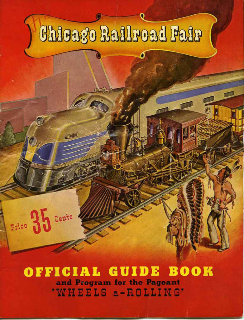 an illustrated red and orange official guide book cover for the chicago railroad fair