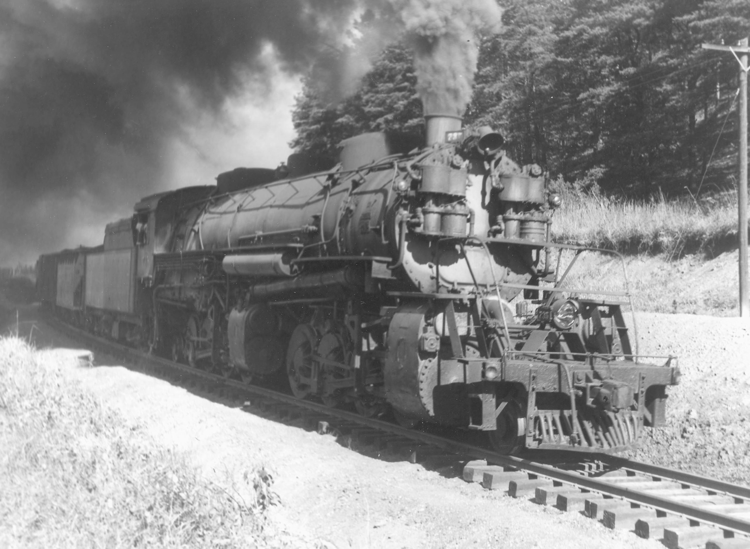 "L-3 class 2-8-8-2 735, the first of 10 Alco 1923 USRA ""sports model"" Mallet steam locomotives (the last of three CC&O L-classes), works a southbound coal train at Mead, North Carolina, in June 1945."