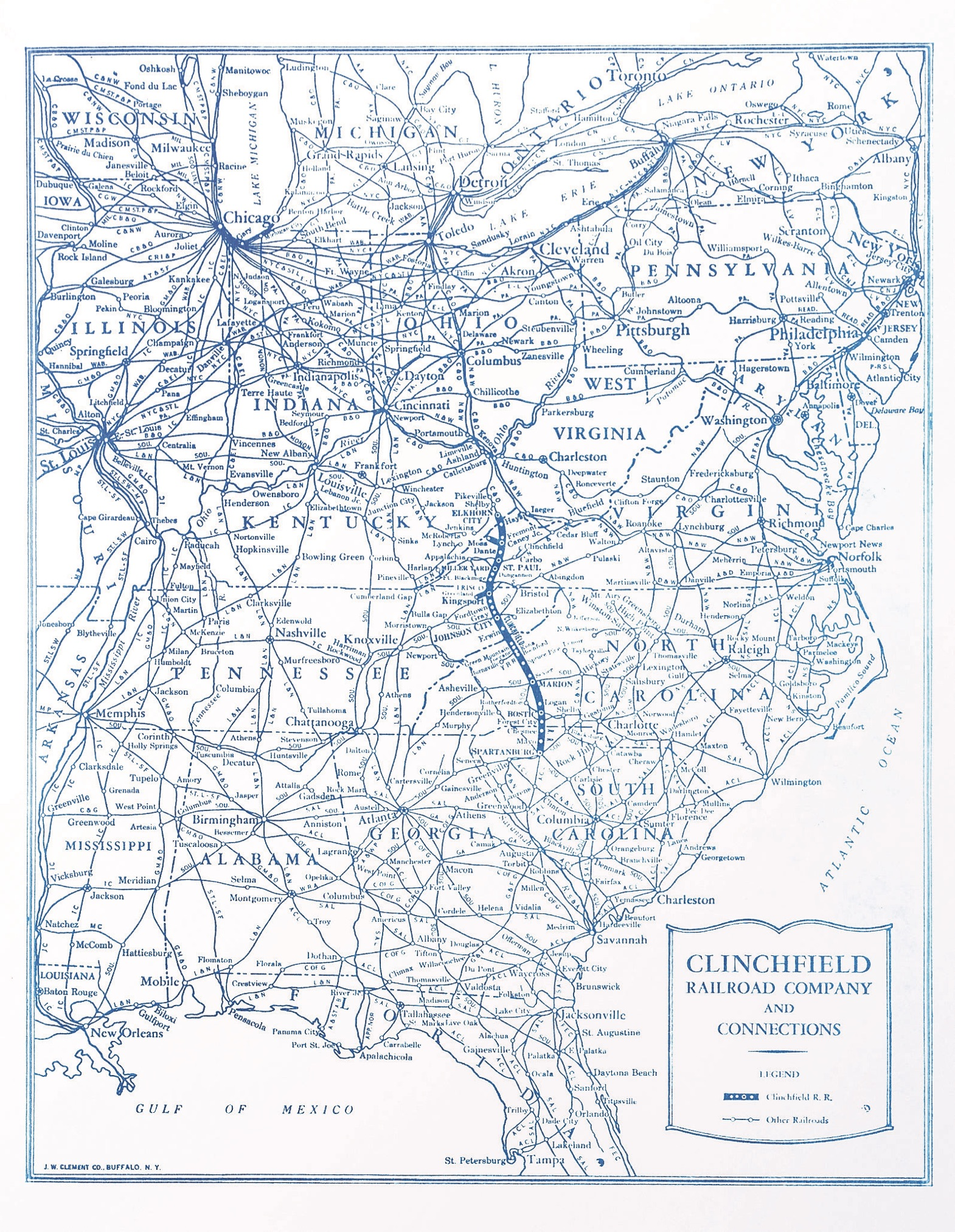 Clinchfield's 277-mile, 5-state line stretched from Elkhorn City, Kentucky, to Spartanburg, South Carolina.