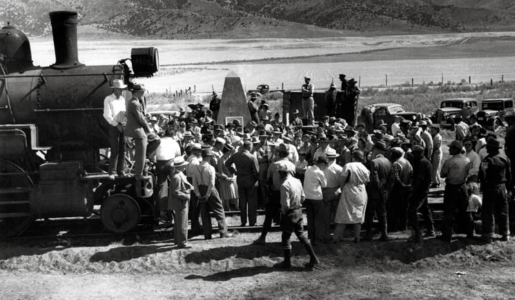 Promontory Utah ceremony removing the tracks to support World War II.