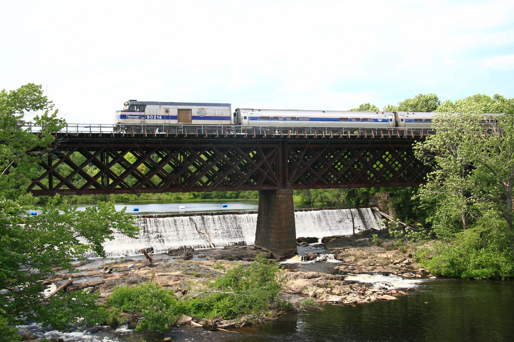 Downeaster train crosses the Salmon Falls