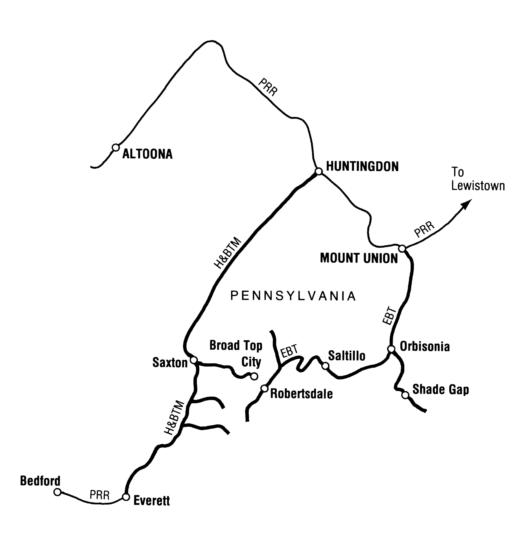 East Broad Top Railroad map