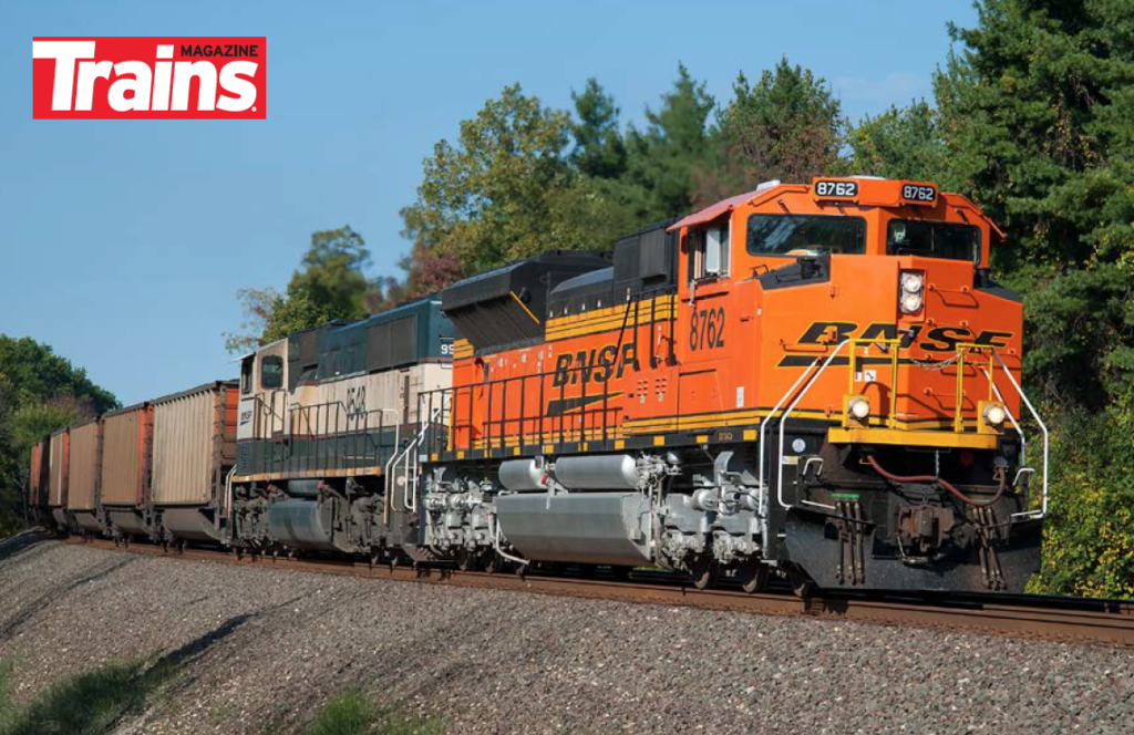 BNSF Railway SD70 series SD70ACE No. 8762 pulls a Norfolk Southern train in Indiana.