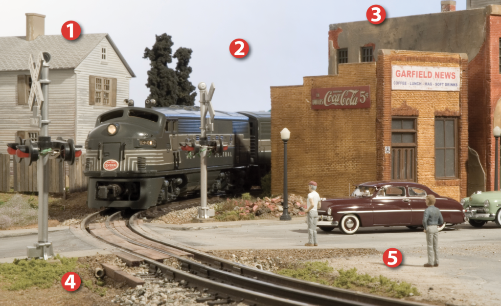 Toy train grade crossing depicting the transition era as a New York Central cab unit approaches a crossing and stopped traffic. Five numerals in red circles 1 through 5 highlight portions of the scene discussed in the text. Photo by Dennis Brennan