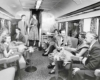 Passengers in a lounge car