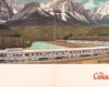 Brochure showing streamlined train on curve by mountains