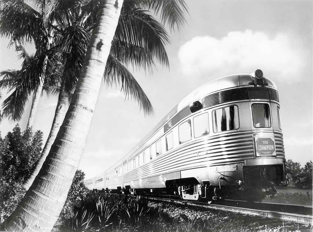 a photo montage of a passenger train passing palm trees