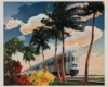 a painting of a passenger train and some palm trees