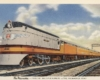 A postcard with a orange and white locomotive on it
