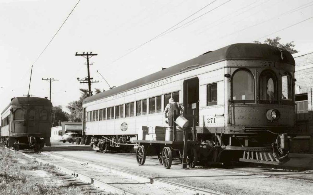 Illinois Terminal interurban car receiving freight or parcels.