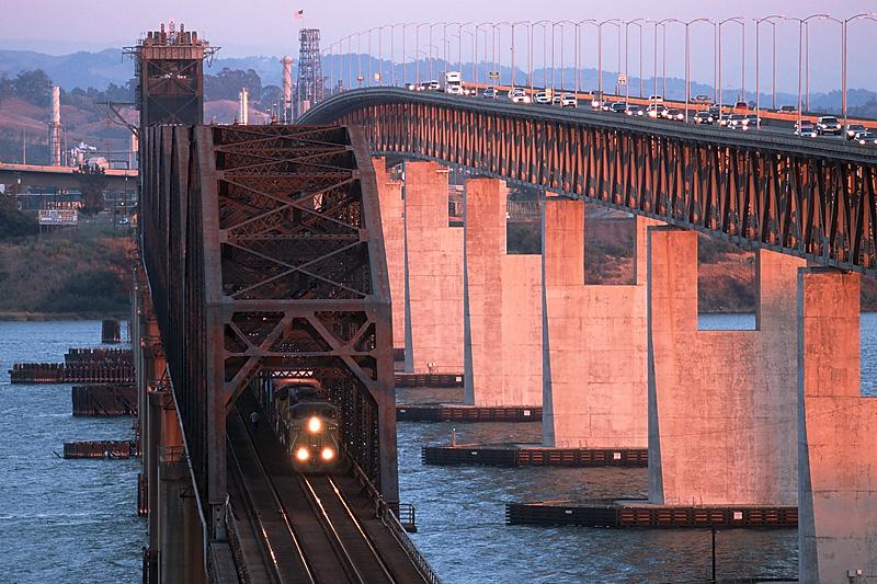 Union Pacific train at Suisun Bridge, Calif.