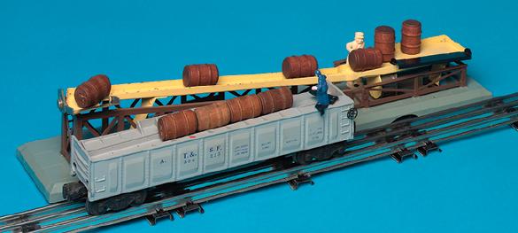 A fully assembled barrel loader and barrel car on tubular track.