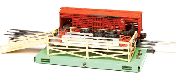 A fully assembled cattle car with loading platform.