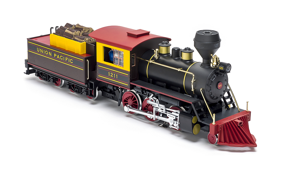 A right-front angled view of Piko's mogul steam locomotive.