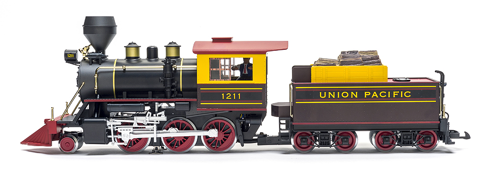 A left broad-side view of Piko's mogul locomotive.