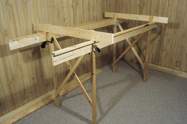 Fig. 5. L-girder benchwork. A simple L-girder table is a good, sturdy choice for a long, table-style layouts and around-the-wall designs.