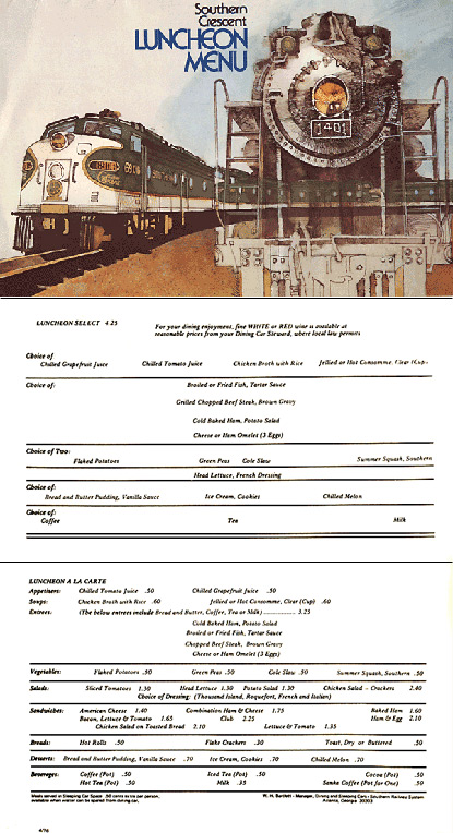 Southern Railway's Southern Crescent luncheon menu