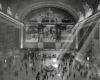 An overhead shot of people walking inside grand central station