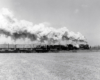 A distant shot of a train passing by with big white smoke coming out of its chimney