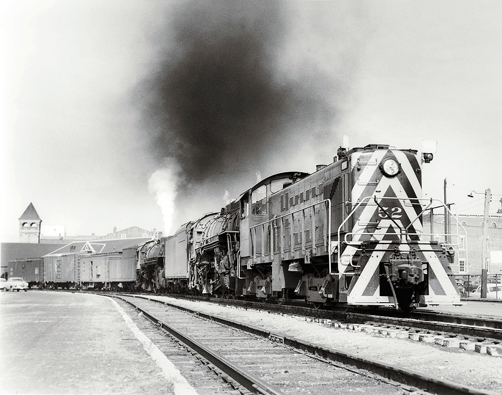 A striped train passing by